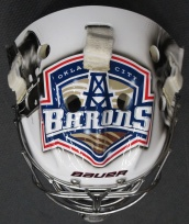 Top of Mask - OKC Barons Logo (Photo: Patricia Teter. All Rights Reserved.)